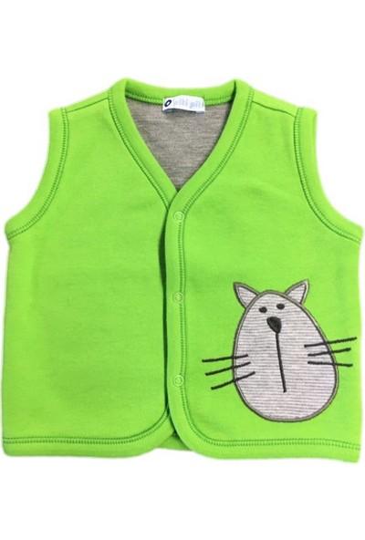 O Piti Piti Bebek Yeleği Kedi Nakışlı Fıstık Yeşil