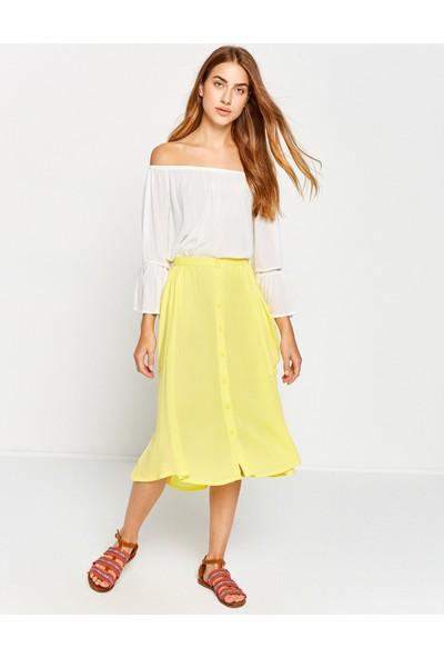 Koton Kadın Düğme Detaylı Etek Sarı