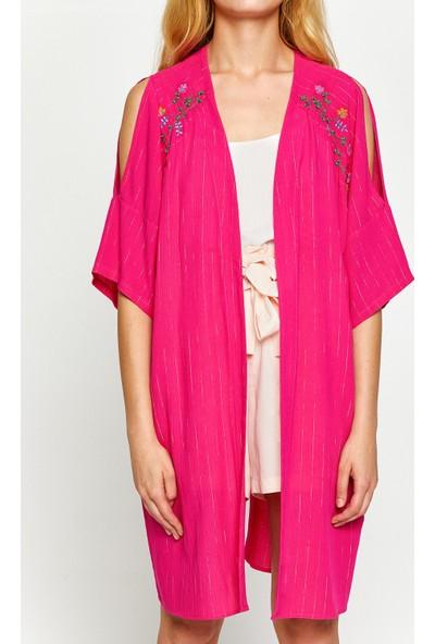 Koton Kadın İşlemeli Kimono Pembe