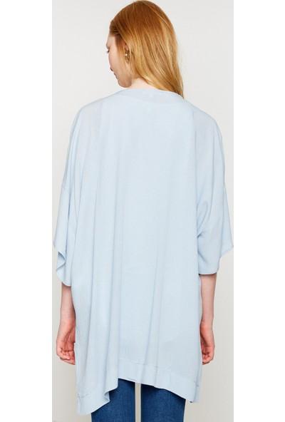 Koton Kadın İşlemeli Kimono Mavi