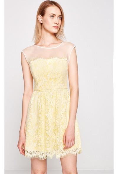 Koton Kadın Dantel Detaylı Elbise Sarı