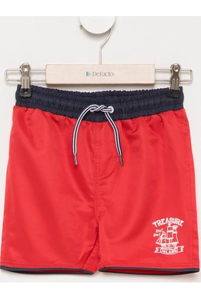 DeFacto Erkek Çocuk Baskılı Yüzme Şortu Kırmızı