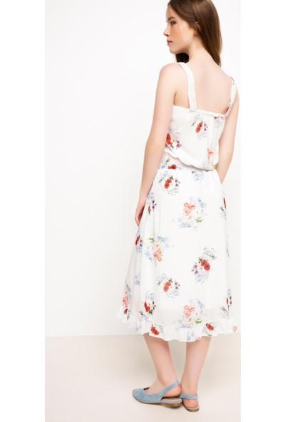 DeFacto Kadın Askılı Desenli Elbise Beyaz