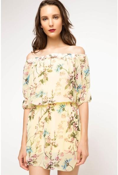 DeFacto Kadın Desenli Elbise Sarı