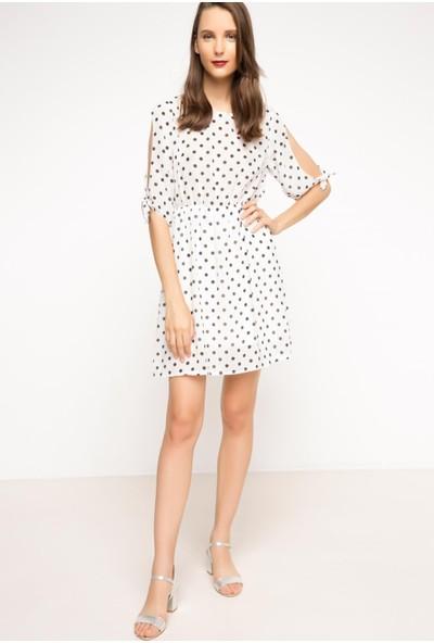 DeFacto Kadın Puantiyeli Elbise Beyaz