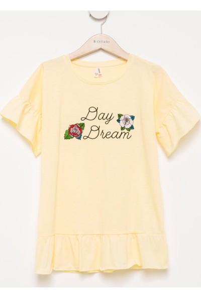 DeFacto Kız Çocuk Fırfırlı Baskılı T-Shirt Sarı