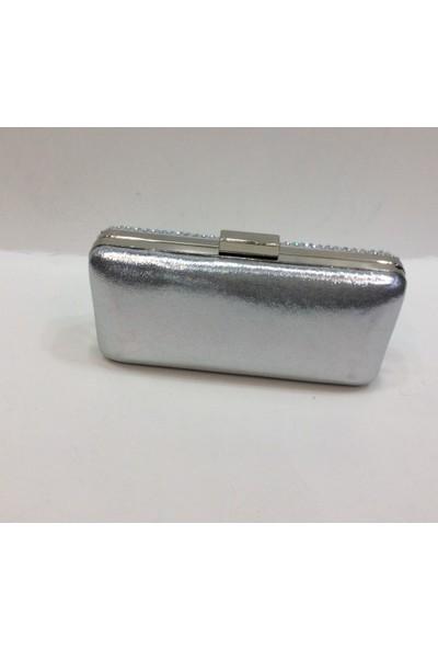 Birlik Taşlı Sıvama Gümüş Kutu Abiye Çanta