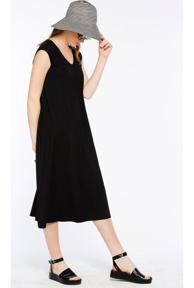 Bexy Pescara Siyah Üç Renk Basic Elbise