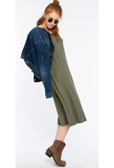 Bexy Pescara Haki Üç Renk Basic Elbise
