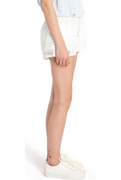 Bexy Dixie Dantelli Beyaz Etek
