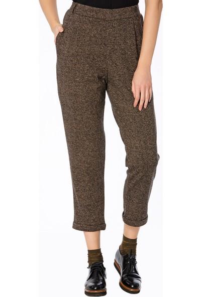 Bexy Soria Jakarlı Taba/Siyah Şık Pantolon