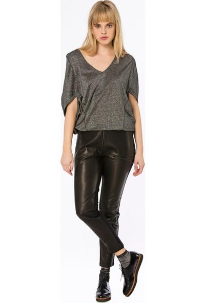 Bexy Lusaka Arkası Örme Önü Deri Görünümlü Siyah/Deri Pantolon