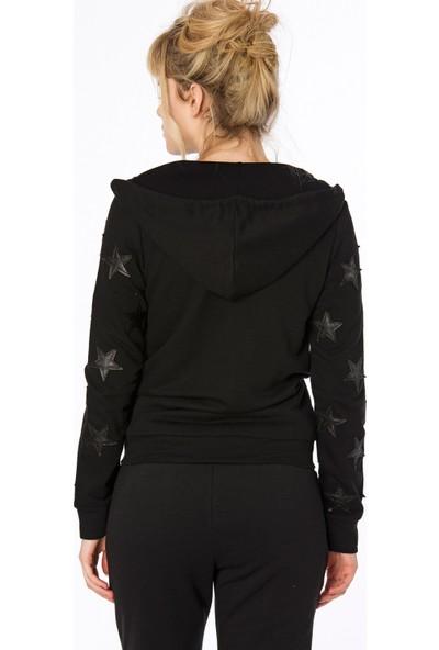 Bexy Jean Kolları Deri Aplike Detaylı Siyah Koton Sweatshirt