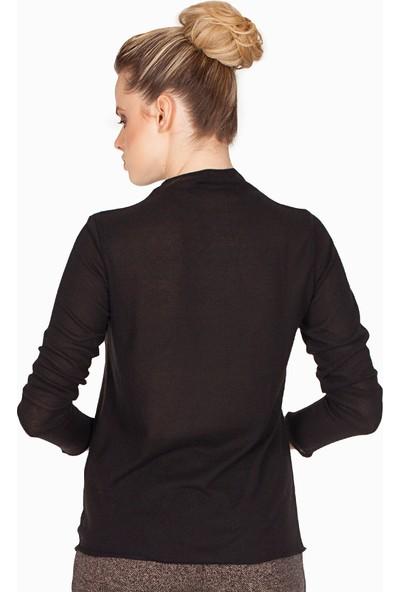 Bexy Astana Yakası Süet Detaylı Siyah Sweatshirt