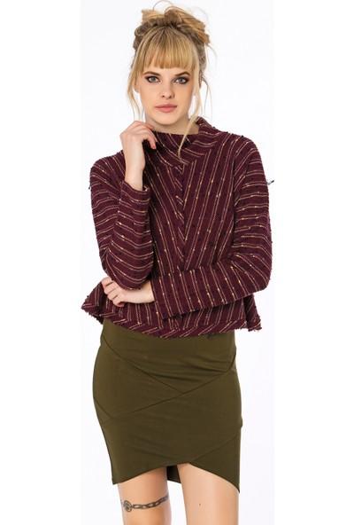 Bexy Kabil Örme Bordo Sweatshirt