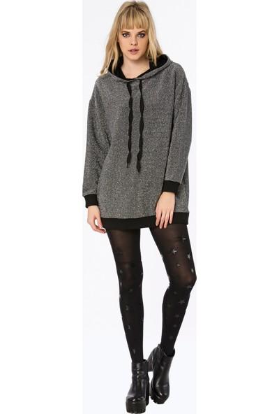 Bexy Kiev Simli Kapşonlu Siyah/Gümüş Uzun Sweatshirt