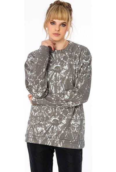 Bexy Lizbon Koton Gri Uzun Sweatshirt