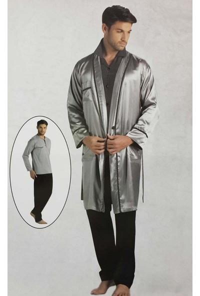 Pierre Cardin 5520 Erkek Çeyizlik Uzun Kollu Pijama Saten Ropdöşambır Set