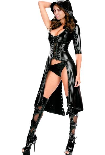 For Dreams Seksi Deri Kostüm Siyah