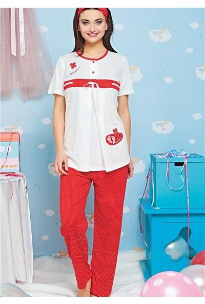 Emose Lohusa Hamile Kısa Kol Yazlık Pijama Takımı 3723