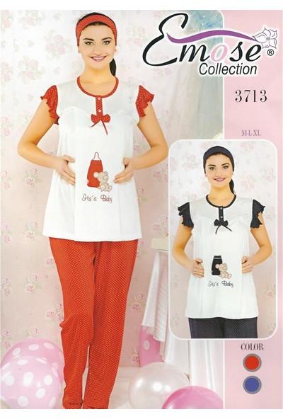Emose 3713 Lohusa Hamile Kısa Kol Yazlık Pijama Takımı