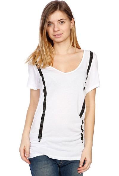 Volcom Suspension V Neck Tee Wht Kadın T-Shirt