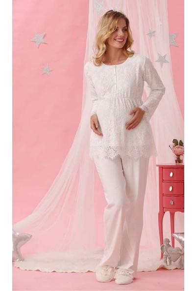 Cossy By Aqua 18021 Hamile Lohusa Uzun Kol Kadın Pijama Takımı