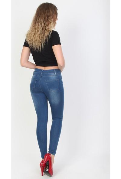 E-Giyimsepeti Taşlı Bayan Kot Pantolon Ydy2112