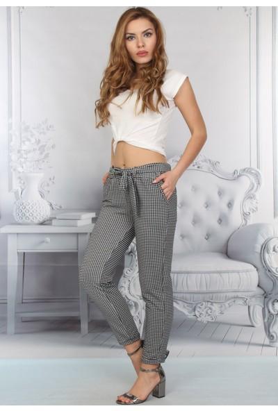 E-Giyimsepeti Siyah Beyaz Ekose Detaylı Kumaş Pantolon