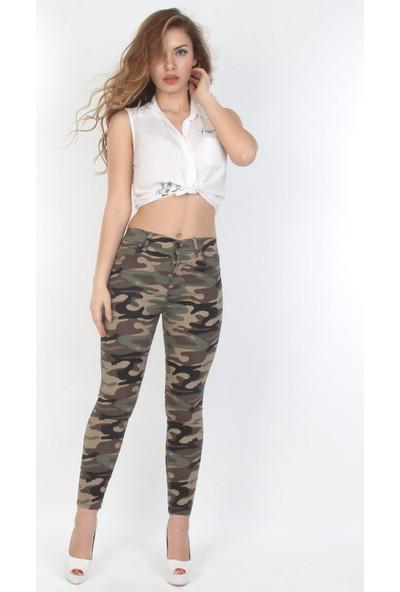 E-Giyimsepeti Haki Kadın Kamuflaj Bayan Pantolon