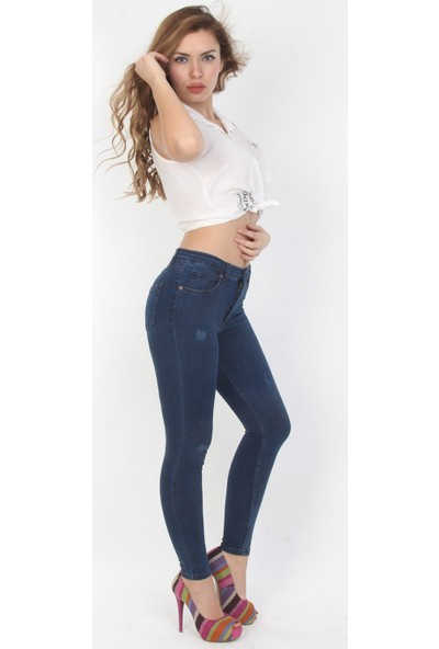 E-Giyimsepeti Koyu Mavi Bayan Pantolon