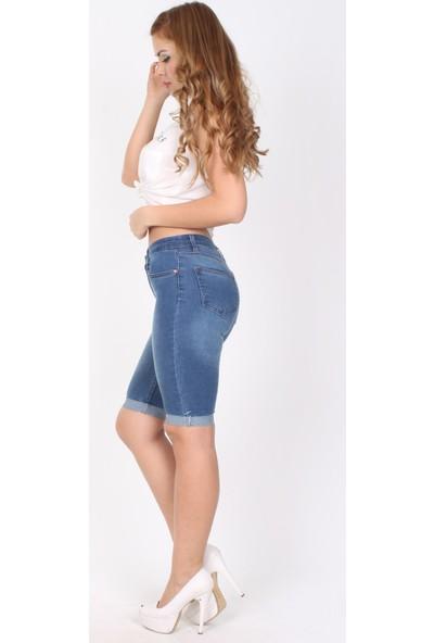 E-Giyimsepeti Mavi Bayan Kot Şort