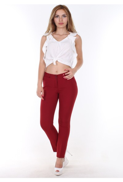 E-Giyimsepeti E Giyim Sepeti Bilek Boy Bayan Kumaş Pantolon Kırmızı