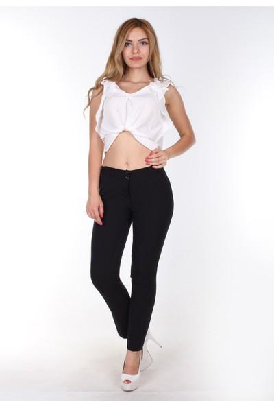 E-Giyimsepeti E Giyim Sepeti Bilek Boy Bayan Kumaş Pantolon Siyah