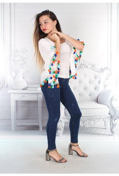 E-Giyimsepeti Baharlık Yeni Model Püsküllü Ekru Panço