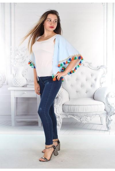 E-Giyimsepeti Baharlık Yeni Model Püsküllü Mavi Panço