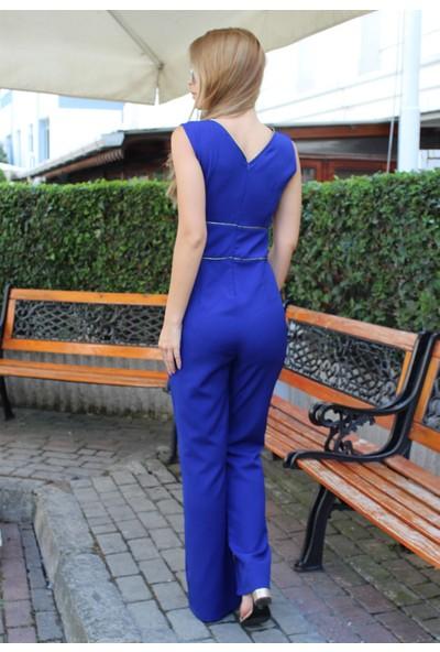 E-Giyimsepeti Fermuar Detaylı Yeni Model Tulum Saks Mavisi