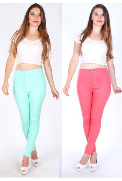 E-Giyimsepeti Çok Esnek Yan Cepsiz Yüksek Bel Pantolon