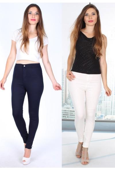 E-Giyimsepeti Çok Esnek Yan Cepsiz Yüksek Bel Kot Pantolon