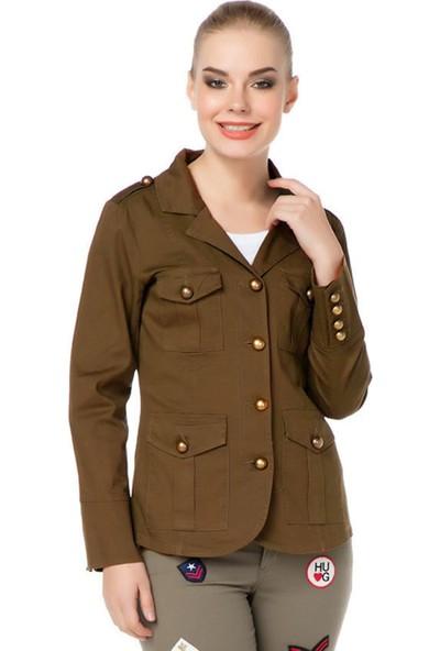 E-Giyimsepeti Apoletli Hardal Bayan Ceket