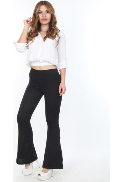 E-Giyimsepeti Siyah İspanyol Paça Tayt