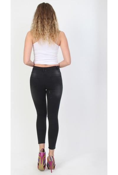 E-Giyimsepeti Dizi Füme Bayan Kot Pantolon