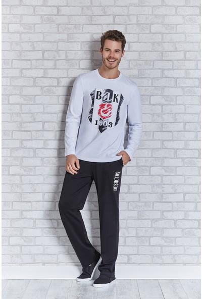 Beşiktaş Lisanslı Erkek Pijama Takımı Beyaz