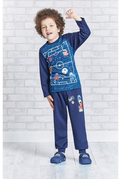 RolyPoly Uzun Kollu Erkek Çocuk Pijama Takımı Cobalt
