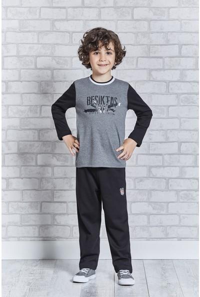 Beşiktaş Lisanslı Genç Erkek Pijama Takımı Koyu Gri