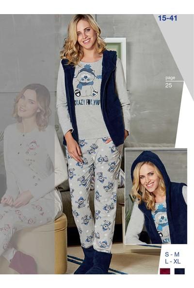 Dowry 15-41 Kışlık Bayan 3'Lü Pijama Takımı