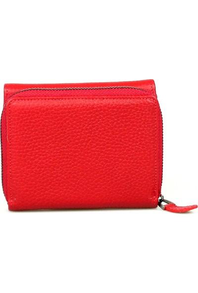 Grande 2744 Hakiki Deri Bayan Cüzdanı Kırmızı