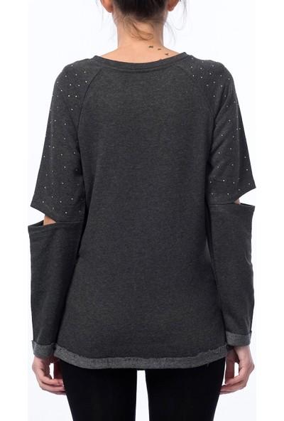 Gör&Sin Casual Hamile Kolu Yırtık Taşlı Sweatshirt Gri