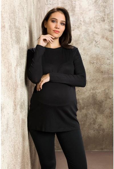 Gör&Sin Casual Uzun Kol Hamile Tunik Siyah