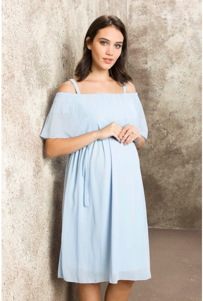 Gör&Sin Casual Hamile Askılı Şifon Elbise Bebemavi
